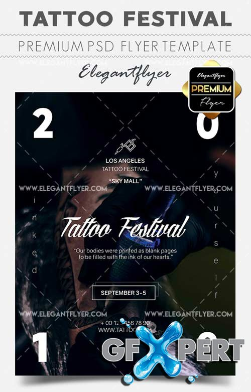 Tattoo Festival V9 2018 Flyer PSD Template + Facebook Cover