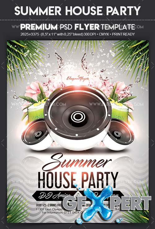 Summer House Party V1 2018 Flyer PSD Template