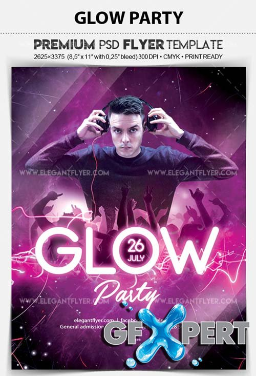 Glow Party V9 2018 Flyer PSD Template