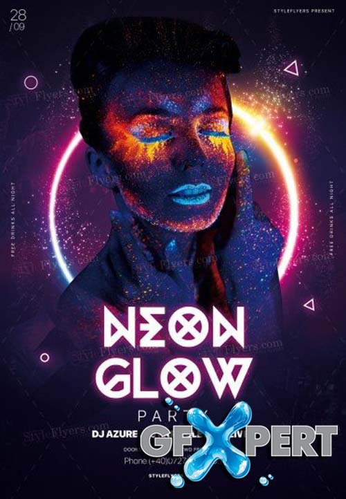 Neon Glow Party V9 2018 PSD Flyer Template