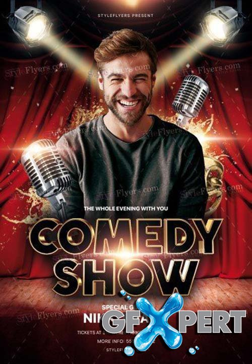 free comedy show v9 2018 psd flyer template download