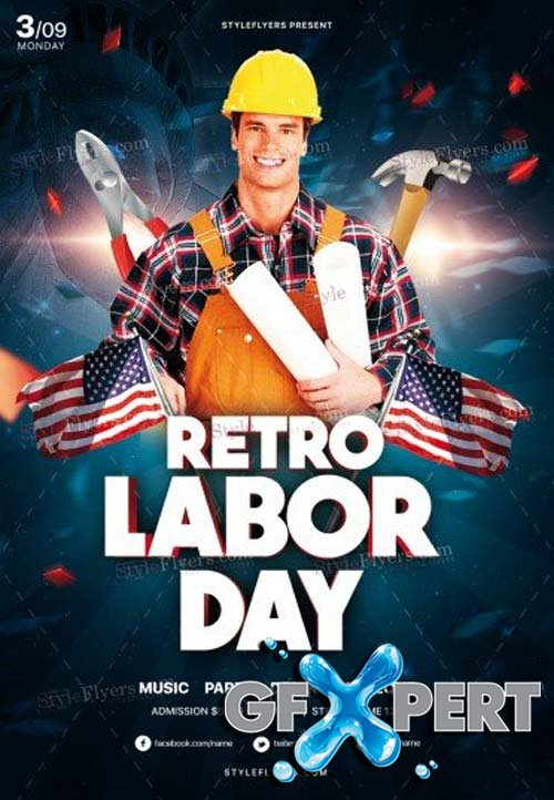 Retro Labor Day V12 2018 PSD Flyer Template