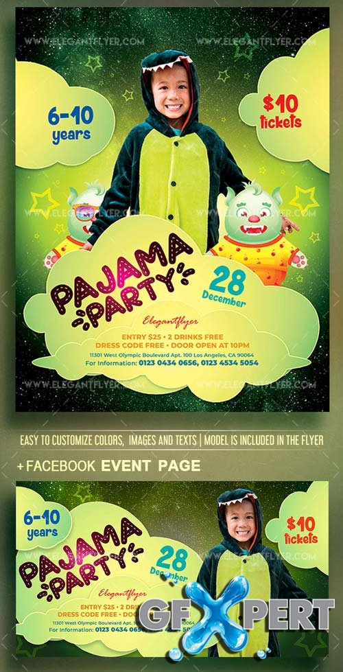 Pajama Party V1 2018 Flyer PSD Template