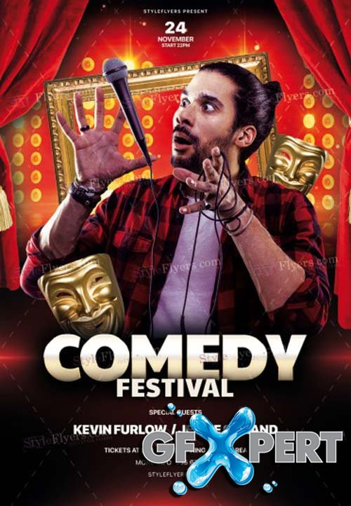 Comedy Night V18 2018 PSD Flyer Template
