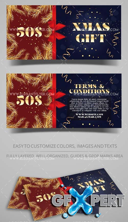 Christmas Discount V11 2108 Gift Certificate in PSD