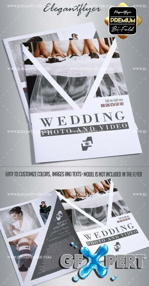 Wedding Photo & Video V1 2018 Premium Bi-Fold Brochure Template