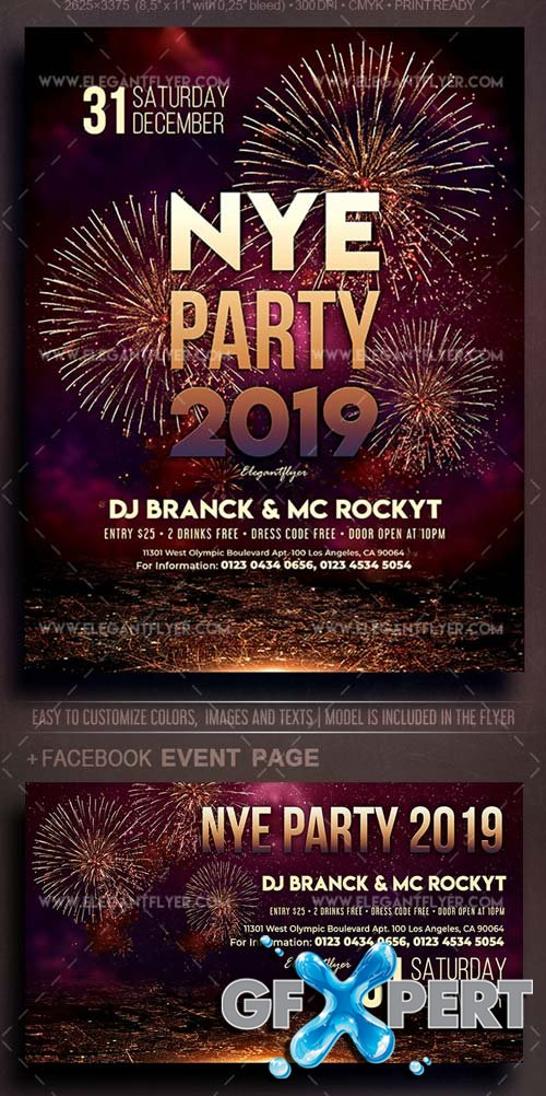 New Year Party V55 2018 Flyer PSD Template