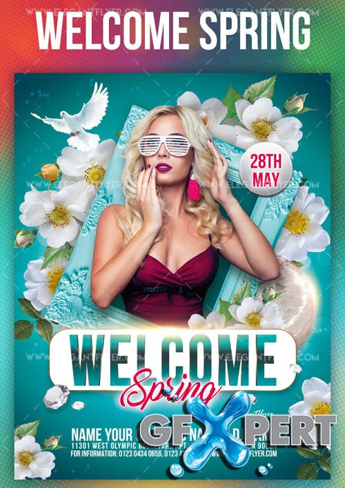 Welcome Spring V1 2019 Flyer PSD Template + Facebook Cover + Instagram Post