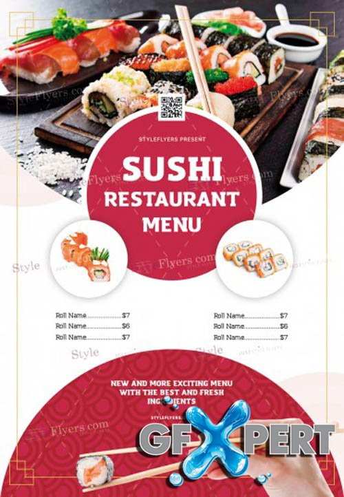 Sushi Restaurant Menu V1 2019 PSD Flyer Template