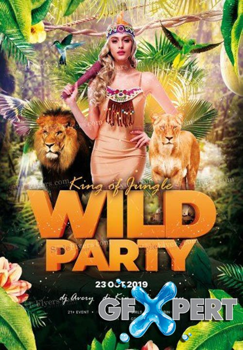 King of jungle Wild Party V2908 2019 PSD Flyer Template