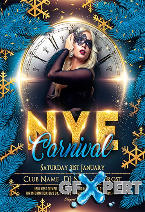 Carnival New Year Night V2611 2019 Premium PSD Flyer Template