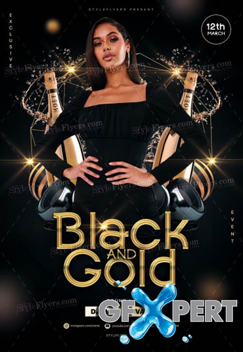 Black And Gold Party V1612 2019 Flyer PSD Template
