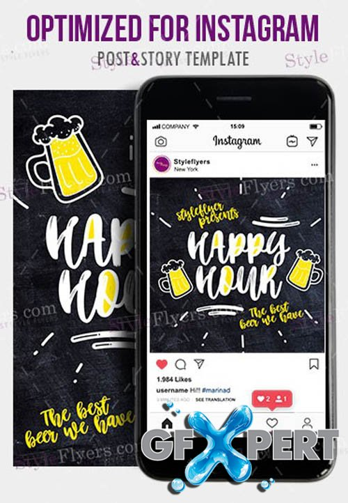 Happy Hour V1203 2020 Instagram Story and Banner PSD Template
