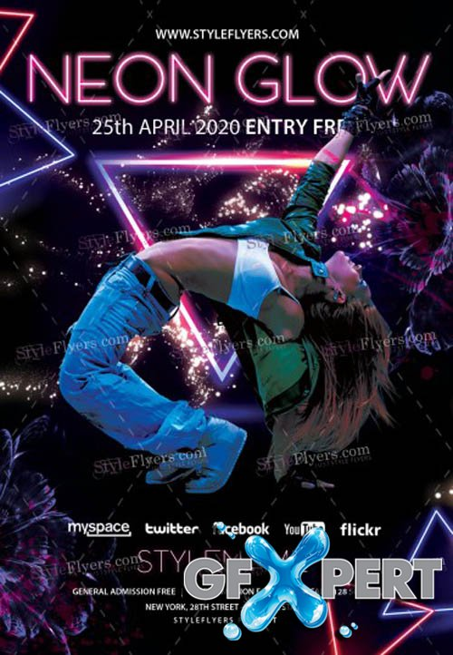 Neon Glow Party V1503 2020 Premium PSD Flyer Templates