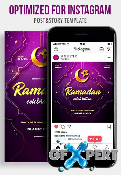 Ramadan V1604 2020 PSD Instagram Post and Story Template