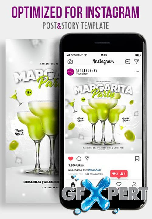 Margarita Party V1604 2020 PSD Instagram Post and Story Template