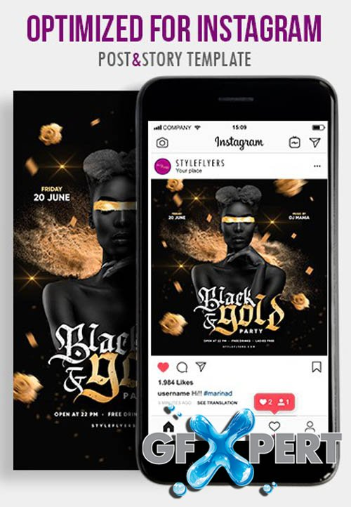Black and Gold Party V1604 2020 PSD Instagram Post and Story Template