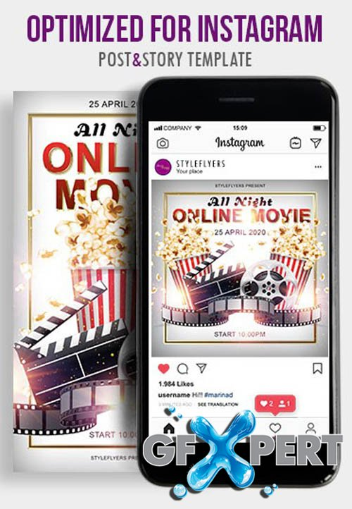 All Night Online Movie V1604 2020 PSD Instagram Post and Story Template