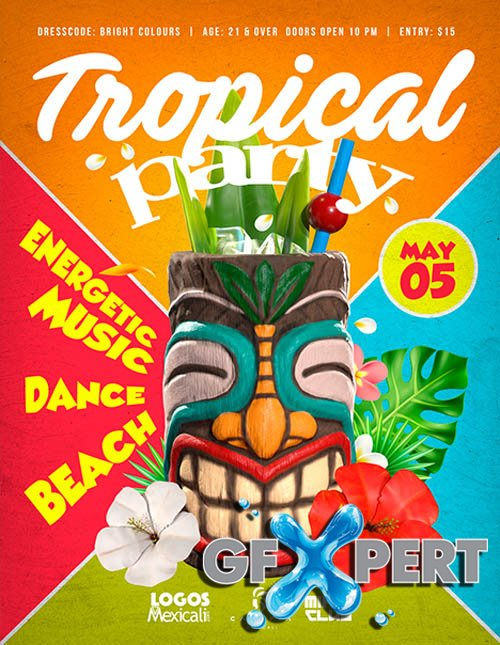 Tropical Party Event V2604 2020 Premium PSD Flyer Template