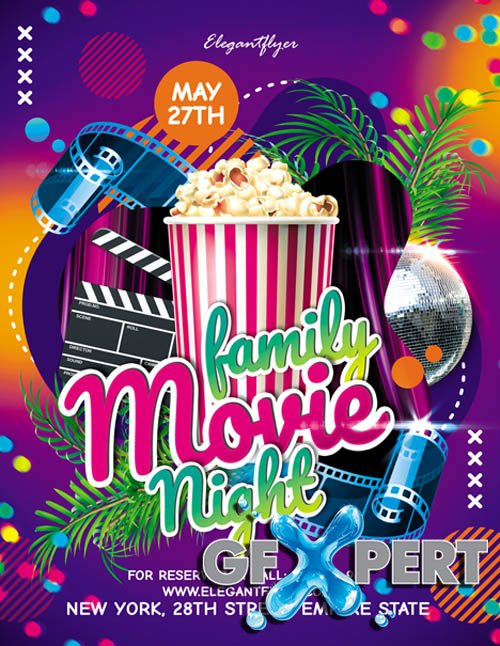 Family Movie Night V2405 2020 Premium PSD Flyer Template