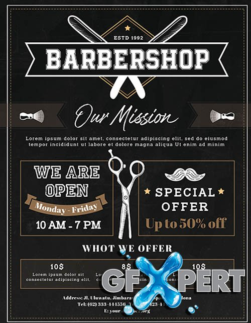 Barbershop V2405 2020 Flyer PSD Template