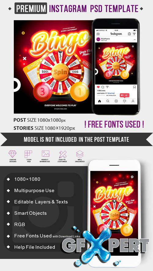 Bingo V1506 2020 PSD Instagram Post and Story Template