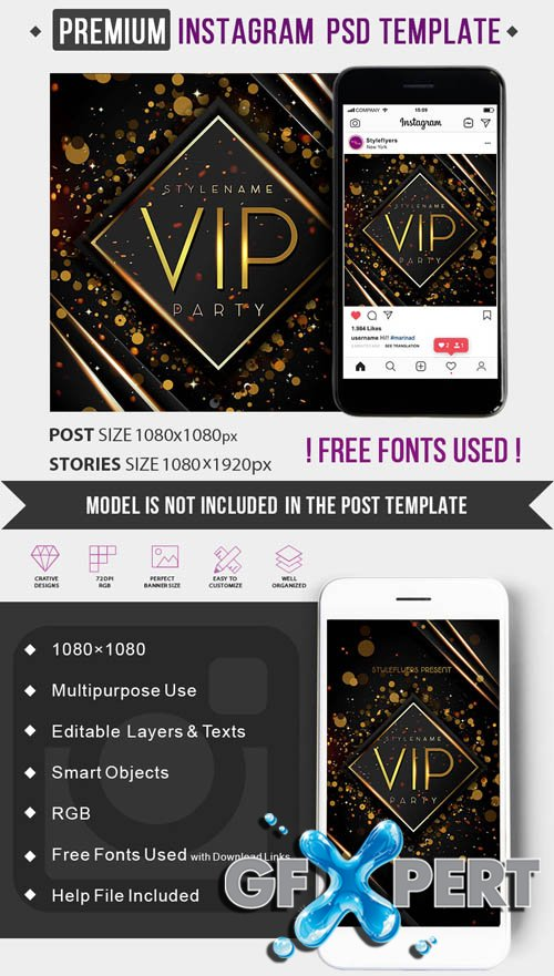 VIP V1506 2020 PSD Instagram Post and Story Template