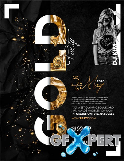 Gold Party Invitation V2406 2020 Premium PSD Flyer Template